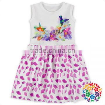 Girls Boutique Sleevless Digital Print Flower Dress Plain White Gorgeous Summer Dress