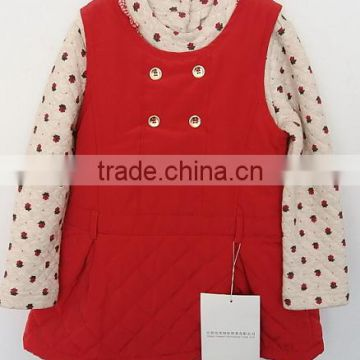 cool baby girls printed knitted cotton shirt with cotton inner dress 2pcs suits for Winter