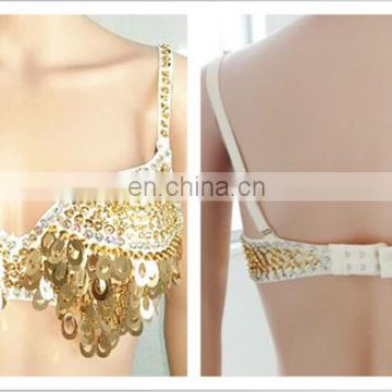 GT-1067 American latest design sequins belly dance bra and belt