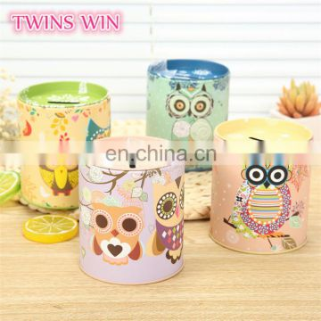China Alibaba supply gift for kids Multifunction alloy Pen holder cartoon owl money boxes wholesale cheap piggy bank metal