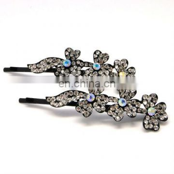 High quality metal flower rhinestone crystal hair clip pin accessories