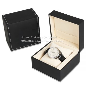Cheap price PU watch box single leatherette display box with custom logo