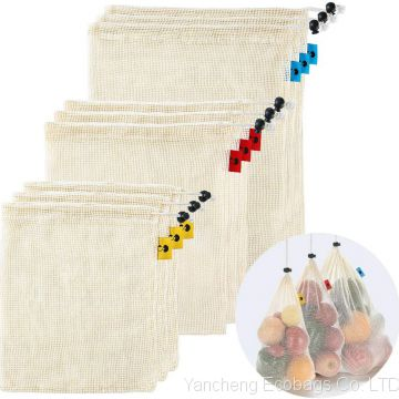 Cotton Reusable Produce Bags - 9 Packs Natural Durable Mesh Produce Bags with Tare Weight on Tags Eco Friendly