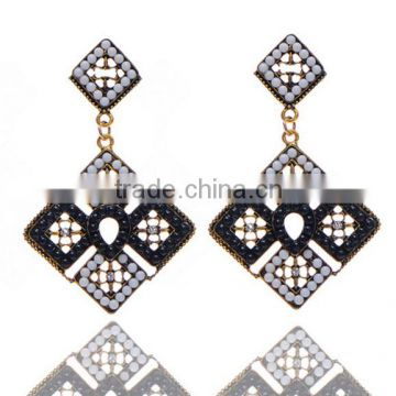 2016 New European and American jewelry black crystal fashion drop simple gold earring designs for women