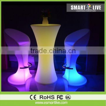 Modern furniture plastic led glowing colorful bar table