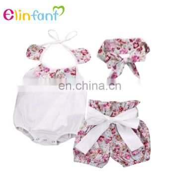 Wholesale newborn baby girl clothes romper baby clothing set 3 pcs