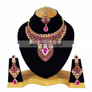 Indian Designer Gold Plated Bollywood Pary wear Jewelry Necklace Set Pink Color
