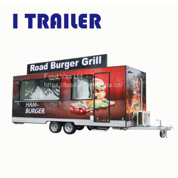 International standard catering burger fiberglass food caravan