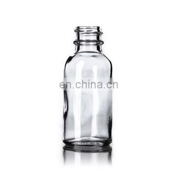 1 oz Clear Boston Round Glass Bottle with Black Fine Mist Spray