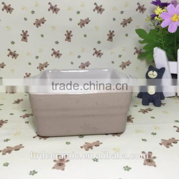 wholesale stocked ceramic square bakeware stoneware plate with two handle