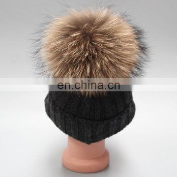 Child Baby Women Winter Knit Beanie Raccoon Fur Pom Bobble Hat Crochet Ski Cap