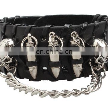 Fashion cool euramerican style decorative rivet punk thick leather bracelet