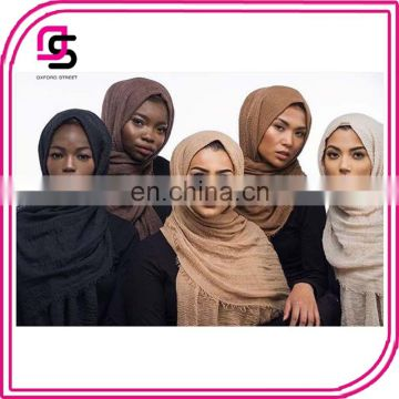 wholesale newest pleated breathable solid color hijab scarf shawl