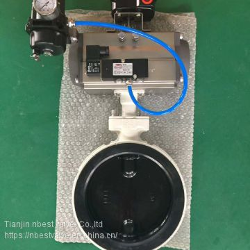 Aluminum Alloy butterfly valve with pneumatic actuator for Air Conditioning System