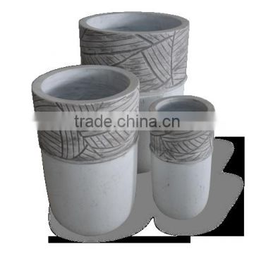 Round Lightweight Cement Pots, GRC (Glass Reinformed Concrete) pots, Small light cement planter