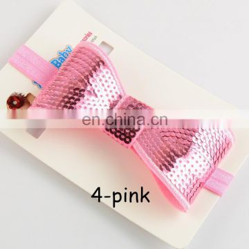 Wholesale Embroidery flash sequins bead piece big bowknot children elastic hair band
