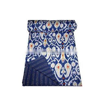 "Ikat printed Cotton Twin Kantha work Quilt Gudri Reversible Throw 60""x90"" Ralli Blanket handmade Bedspread Bedding India Quilts"