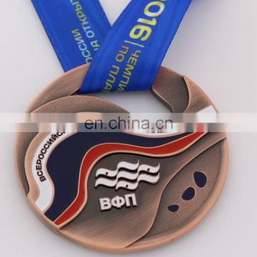 Custom metal round shape fill in color medal