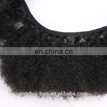 Yotchoi hair 6A afro kinky human hair extensions,virgin brazilian afro kinky curly hair extensions