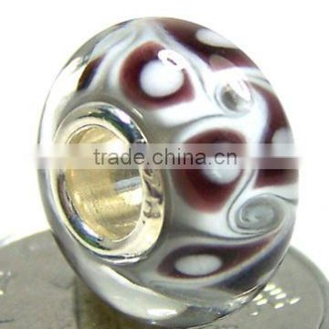 European style 925 sterling silver Art Lampwork Glass Beads