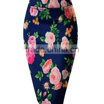 Office Wear Long Skirt Flattering Fit Pencil Tight Knee Length Stretchy Beautiful Prints Sexy Skirt For Middle-Aged Women