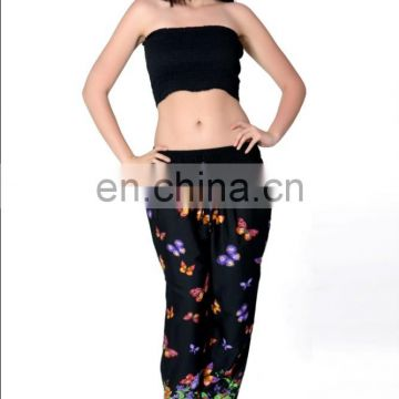 Black colour butterfly design High quality Loose fit elasticated waistband trousers