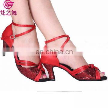 X-8014 Fashion satin high heel women sexy red latin dance shoes