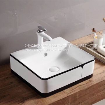 High quality 2018 ceramic public colored wash hand basin sink with no hole