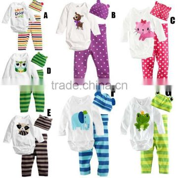 Infants Baby Color Stripe Long Sleeve Baby Cotton Clothes Baby Romper Toddlers Clothing Baby Set