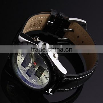 MR008 Brand New Mens Man Design army military gold color face analog digital multi function sport leather wrist watch