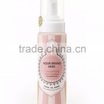 Face Mousse For Sensitive Skin With Reetha, Pink Jasmine And Moringa Oil - 230 ml. Private Label Available. Made in EU