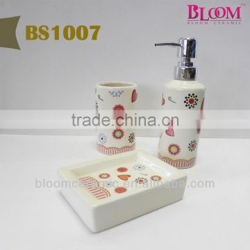 Flower decal bathroom accessory set