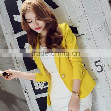 2016 Women Blazer Korean Version Cultivating Wild (green Yellow Black) Long-sleeved Small suit Women Blazers And Jackets