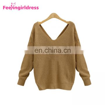 Winter Loose Bat Long Sleeve Fashion Knit Sweater Ladies Blouse Open Back