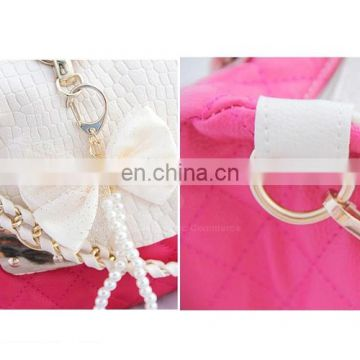Casual PU Leather and Bow Faux Pearls Design Women's Tote