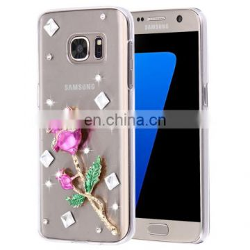 Wholesale OEM Crystal Diamond Rose Plastic case cover for Samsung Galaxy S7 Edge