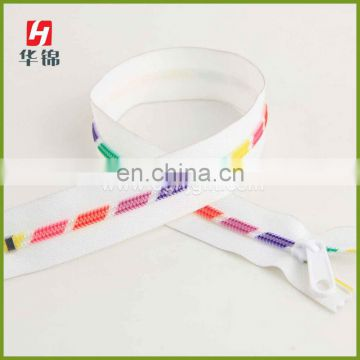 Rainbow Colored Plastic Teeth Printed Zipper
