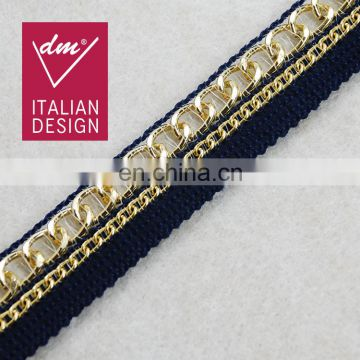 Wholesale Hot selling braided trim with metal tape for garments