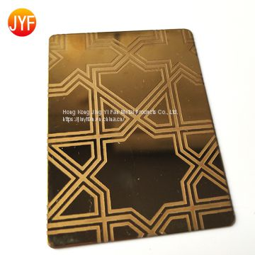 Wholesale Customized golden etching color stainless steel decorative interior wall sheet
