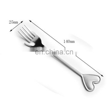 Heart and hand shiny silver hot sale metal spoon fork