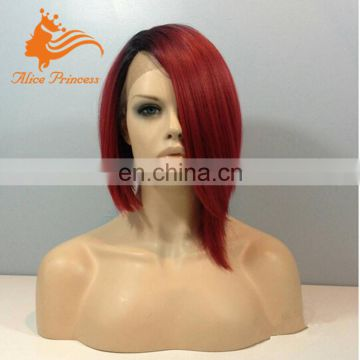 Ombre Glueless Lace Wig Two Colors 1B And Red Wigs Virgin Malaysian Hair Burgundy Lace Front Bob Wig With Natural Hairline