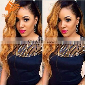 1B#T27# two tone human hair wig body wave brazilian cheap full lace wig with baby hair side part ombre full lace wigs