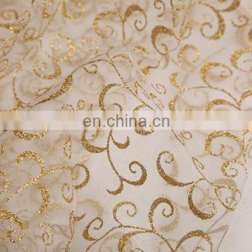 2015 Best Selling Products Gold Powder Spraying Swirl Printed Organza Fabric