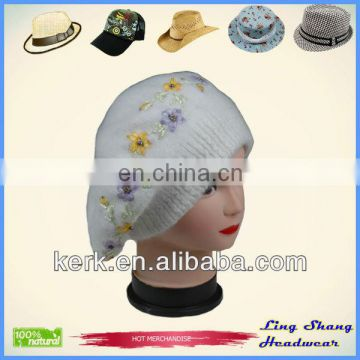 LSA42 Ningbo Lingshangf Hot Sale Rabbit hair for Girls in Winter knit hat
