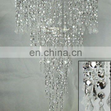 SILVER CRYSTAL MULTI DIAMOND CUT FACETED ACRYLIC BEADED CHANDELIER