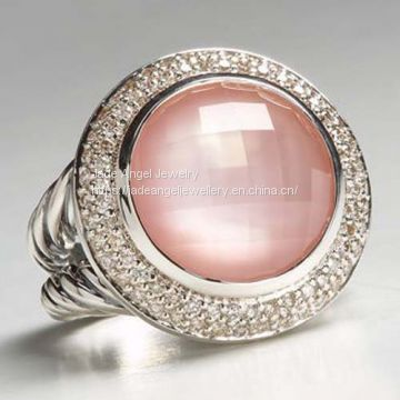High Quality Sterling Silver DY Women 14mm Rose Quartz Cerise Ring