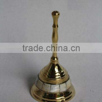 Brass Bell with Mother of Pearl Mosaic and Mirror polish