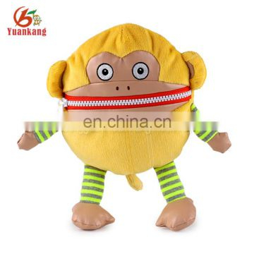 Factory wholesale funny plush monkey coin purse for kids