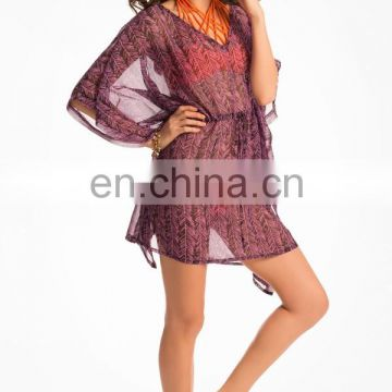 Purple Graphic Print Sarong Cover-Up