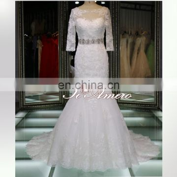 berta bridal long sleeve lace appliqued sequins diamond trumpet Guangzhou wedding dress